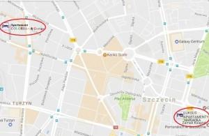Mapa COLORSART i LUKSUS APARTAMENTY MARIACKA - Kopia